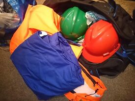 North Sea Offshore gear - 2 boiler suits, 2 hard hats + bag