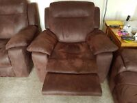 2 seater recliner sofa and 2 matching recliner chairs