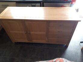 Soild oak sideboard and table