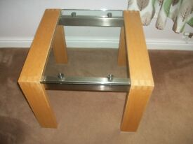 Solid light oak lounge stainless steel and glass top lamp table. Excellent condition.