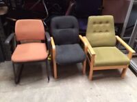 FREE TO COLLECTORS - Various Meeting Office Reception Chairs With & Without Arms (single chairs)