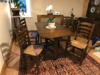 Old charm table and four chairs