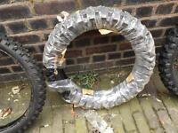 4x off road Motocross Enduro motorbike tyres. Black Rock 110/100/18 & 80/100/21