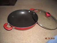 Large Red Wok/Stir fry pan with lid