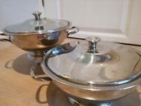 2 Stainless Steel Quality Vegetable Serving Dishes. Good Condition. Used.