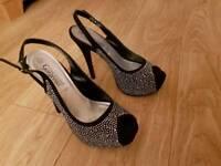 Black diamante high heeled platform shoes size 7
