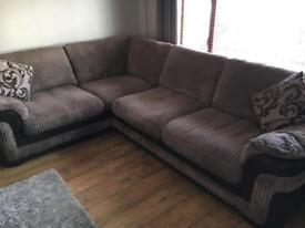 DFS brown corner sofa with matching storage footstool