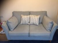 6 mth old Bond Street 3 seater fabric sofa-Issy Sky with Zigzag Mink foot stool+ 2 scatter cushions