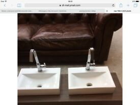 Hudson reed twin sinks and taps matching wall unit
