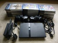 PS2 slim Console, 2 controlers, 2 memory cards, all leads + games + XBOX & PC Games