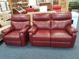 Excellent quality and condition burgundy leather reclining 2 seater sofa and matching chair
