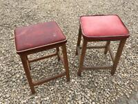 Two retro vintage shabby chic red vinyl wooden stools - Ideal for campervan or camping trip