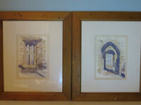 x2 Original Watercolours Framed Irish Artist - Timoleague Friary in Co. Cork, Ireland Medieval Abbey