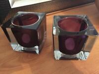 Purple tea light holders x2
