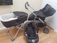 Mamas and Papas Pram, Carrycot, Car Seat and Travel System in Balmain pattern