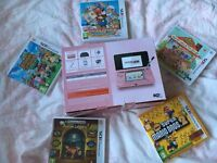 Pink Nintendo 3DS with 5 nintendo 3DS games