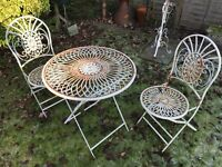 Shabby Chic / French Parisian Style Garden Table & 2 Chairs Patio Furniture Set Authentically Aged