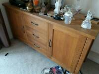 Beautiful Genuine Oak Wood Set of Drawers Cupboard Set