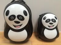 CUTIES & PALS Childs Panda Hard Suitcase with Backpack - Kids Luggage with Wheels