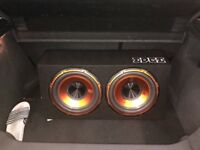 Edge twin subwoofer with amp and wire kit