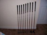Golf clubs, full set of john letters irons, model T8 graphite