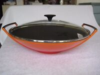 Le Creuset Cast Iron Wok with Lid 36 cm in Volcanic Orange - Excellent condition, Never used