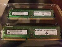 4GB (2x2GB) Crucial DDR3 RAM