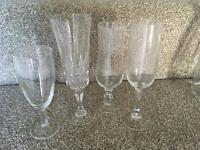 Glasses, carafes & cutlery collection for wedding party