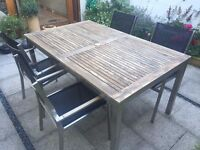 Garden table and 6 chairs - modern steel design