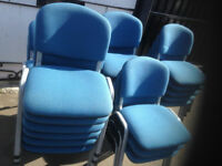Blue Fabric Stacking Office Meeting Chairs