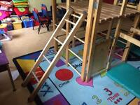Indoor wooden climbing frame