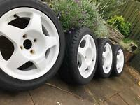 Fiat 4x98 Compomotive MO5 Alloy Wheels White 4x100