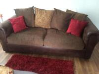 Slightly used two 3 seater sofas with free rugs and curtains