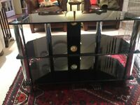 Glass TV Stand with Cable Management, Suitable For All Types of TVs
