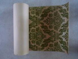 3 rolls of Vintage Olive Green flocked Sanderson Wallpaper - boxed