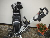 Snake eyes Golf clubs and bag and folding trolley