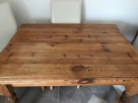 Reclaimed Pine Dining Table 4'x3' plus 4 faux leather chairs