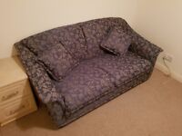 Sofa Bed - with cushions, used, blue with floral pattern