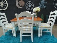 SOLID PINE FARMHOUSE DINING TABLE WITH 4 SOLID PINE FARMHOUSE DINING CUSHIONED CHAIRS