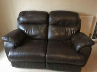 Brown leather reclining 2 seater sofa and chair. Easy to remove backs for ease of removal