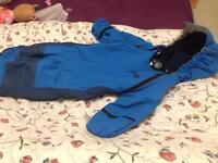 Spotty otter 0/6 months snow suit large blue