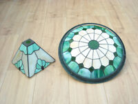 Two modern art deco lead light ceiling pendents