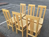 SET OF SIX WOODEN HIGH BACK DINNING ROOM CHAIRS AS NEW ---CAN DELIVER---