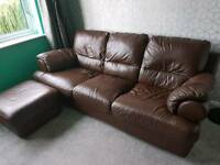 Brown leather 3 seat sofa, armchair and pouffe