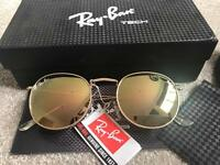Ray Ban round gold flash mirror lens sunglasses unisex, brand new in box