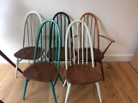 5 ercol style Quaker chairs