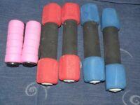 Soft Hand Dumbbells - 1.1 kg, 0.9 kg and 0.5g Pink - Yoga, Fitness, Health