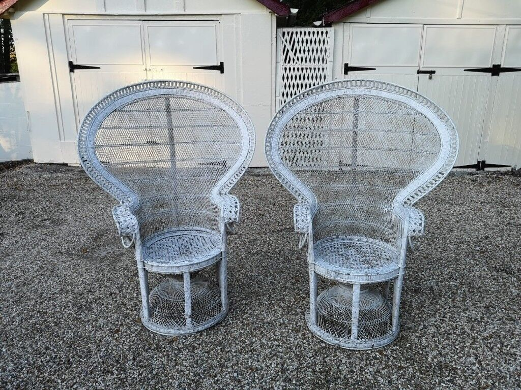 Pair Of Iconic Emmanuelle Vintage Wicker Pea Chairs In White