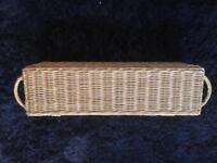 Long thin hinged wicker basket