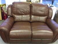 Brown maroon 2 seater reclining leather sofa